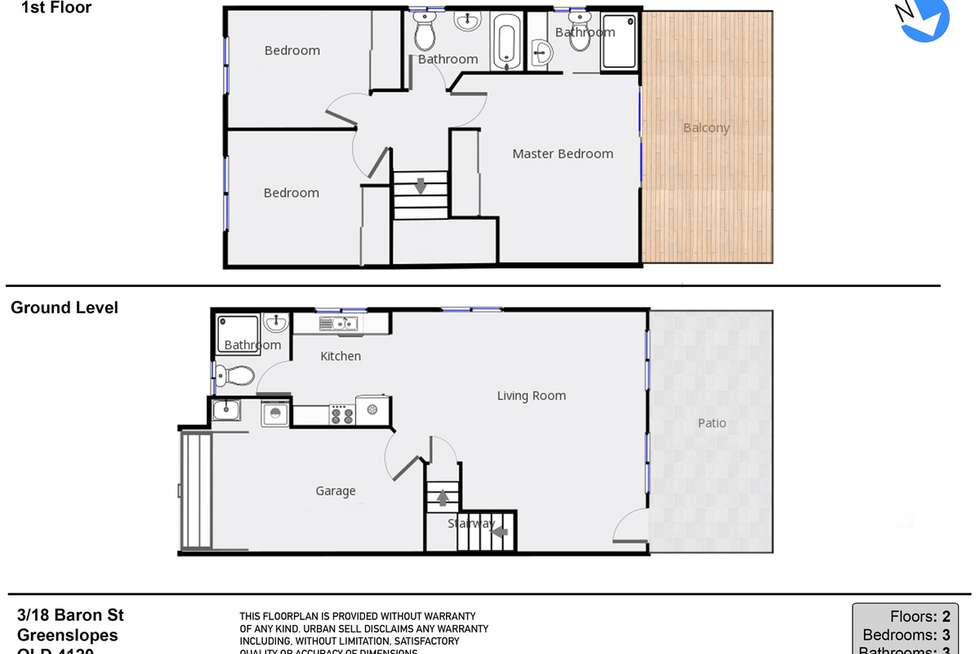 Floorplan of Homely townhouse listing, 3/18 Baron Street, Greenslopes QLD 4120