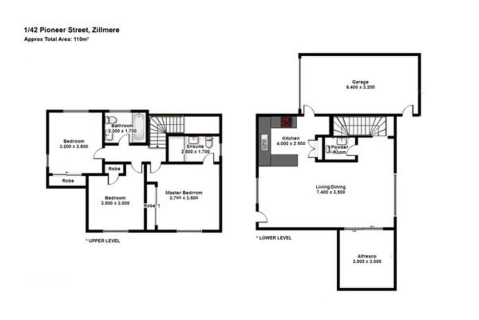 Floorplan of Homely townhouse listing, 1/42 Pioneer Street, Zillmere QLD 4034