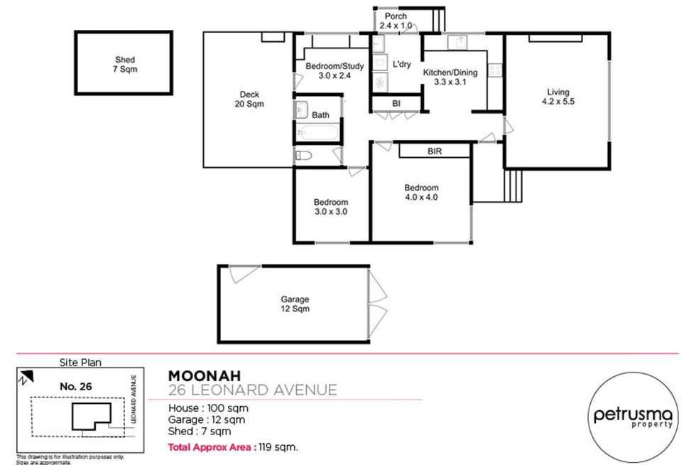 Floorplan of Homely house listing, 26 Leonard Avenue, Moonah TAS 7009