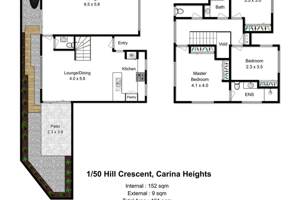 Floorplan of Homely townhouse listing, 1/50 Hill Crescent, Carina Heights QLD 4152