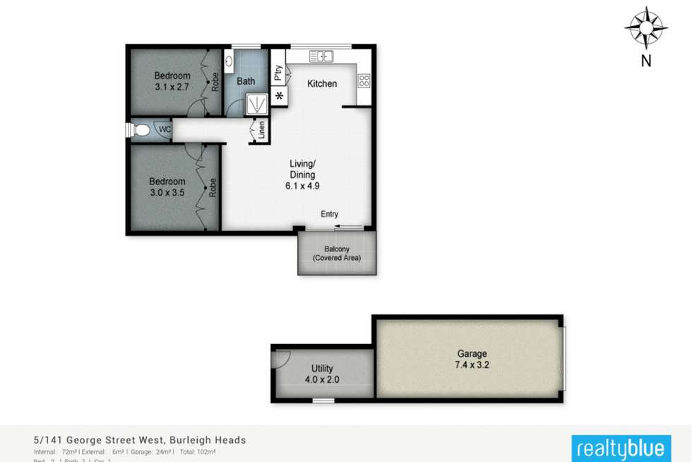 Floorplan of Homely unit listing, 5/141 George Street West, Burleigh Heads QLD 4220