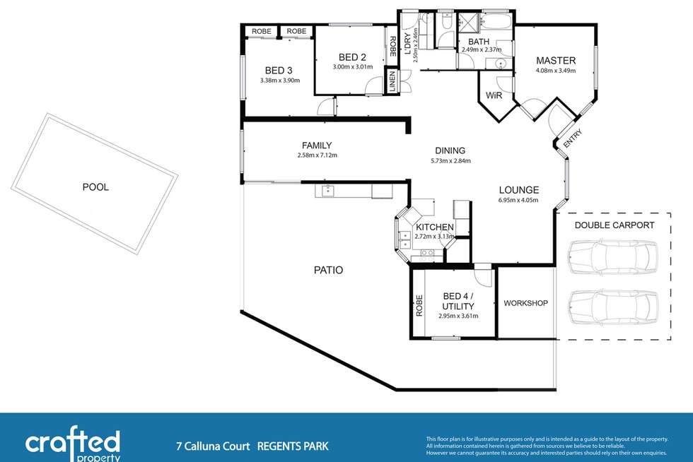 Floorplan of Homely house listing, 7 Calluna Court, Regents Park QLD 4118