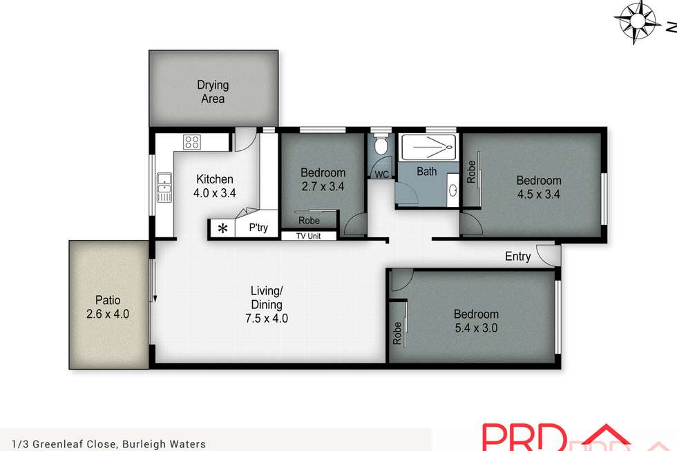 Floorplan of Homely semiDetached listing, 1/3 Greenleaf Close, Burleigh Waters QLD 4220
