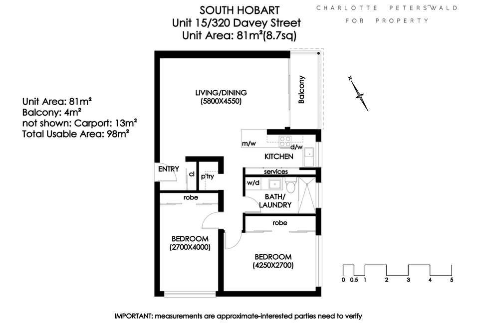Floorplan of Homely apartment listing, 15/320 Davey Street, South Hobart TAS 7004