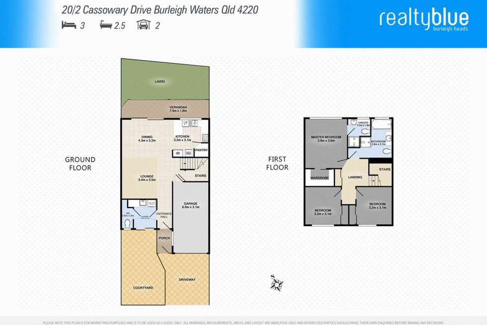 Floorplan of Homely townhouse listing, 20/2 Cassowary Drive, Burleigh Waters QLD 4220