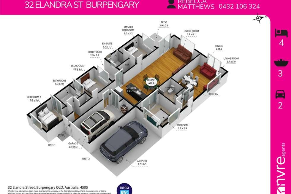 Floorplan of Homely semiDetached listing, 32 Elandra Street, Burpengary QLD 4505