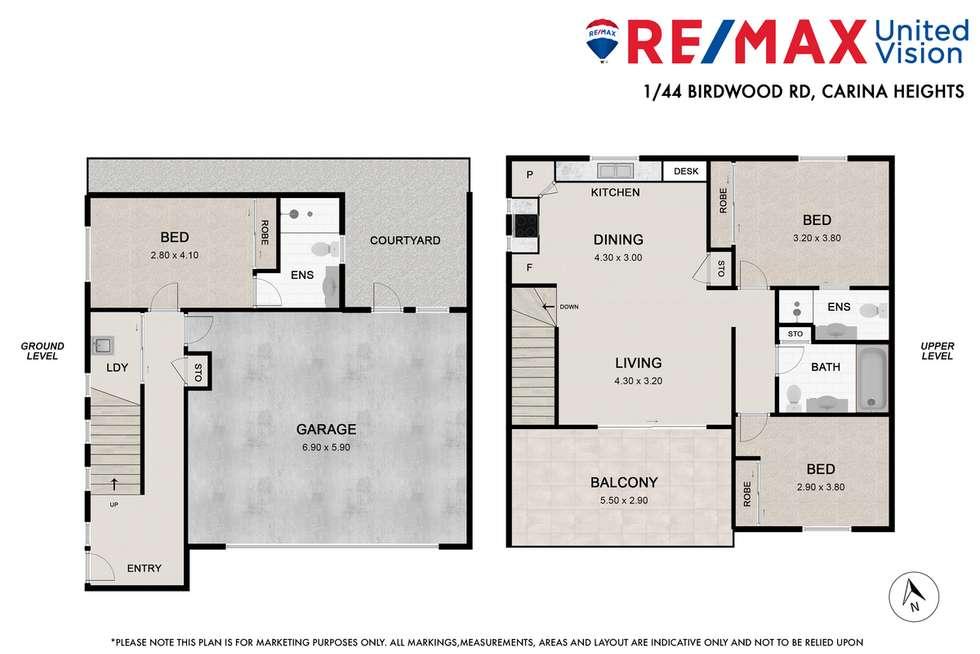 Floorplan of Homely townhouse listing, 1/44 Birdwood Road, Carina Heights QLD 4152