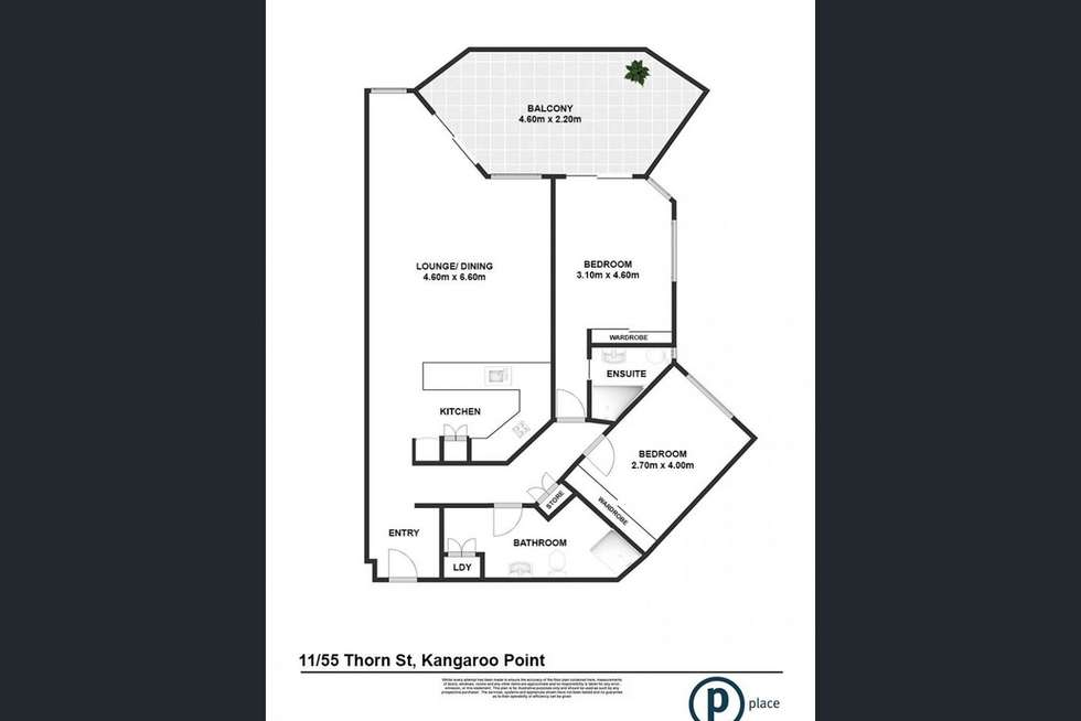 Floorplan of Homely apartment listing, 55 Thorn Street, Kangaroo Point QLD 4169