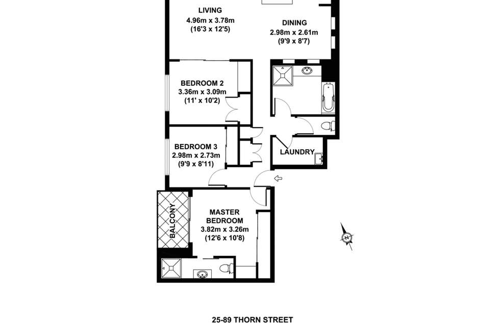 Floorplan of Homely apartment listing, 89 Thorn Street, Kangaroo Point QLD 4169