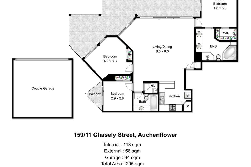 Floorplan of Homely apartment listing, 159/11 Chasely Street, Auchenflower QLD 4066