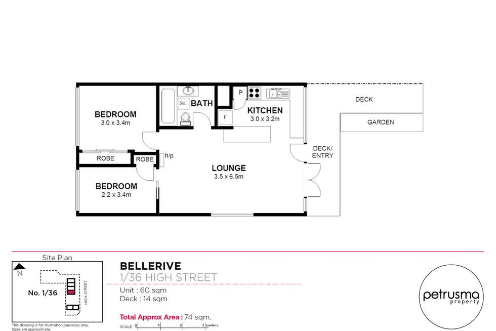 Floorplan of Homely unit listing, 1/36 High Street, Bellerive TAS 7018