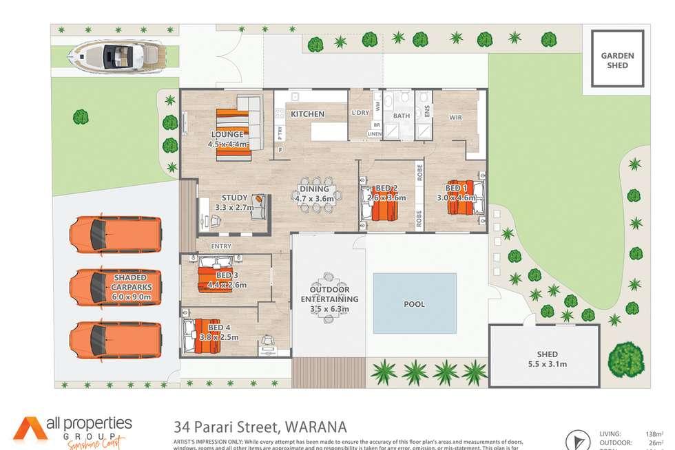 Floorplan of Homely house listing, 34 Parari Street, Warana QLD 4575