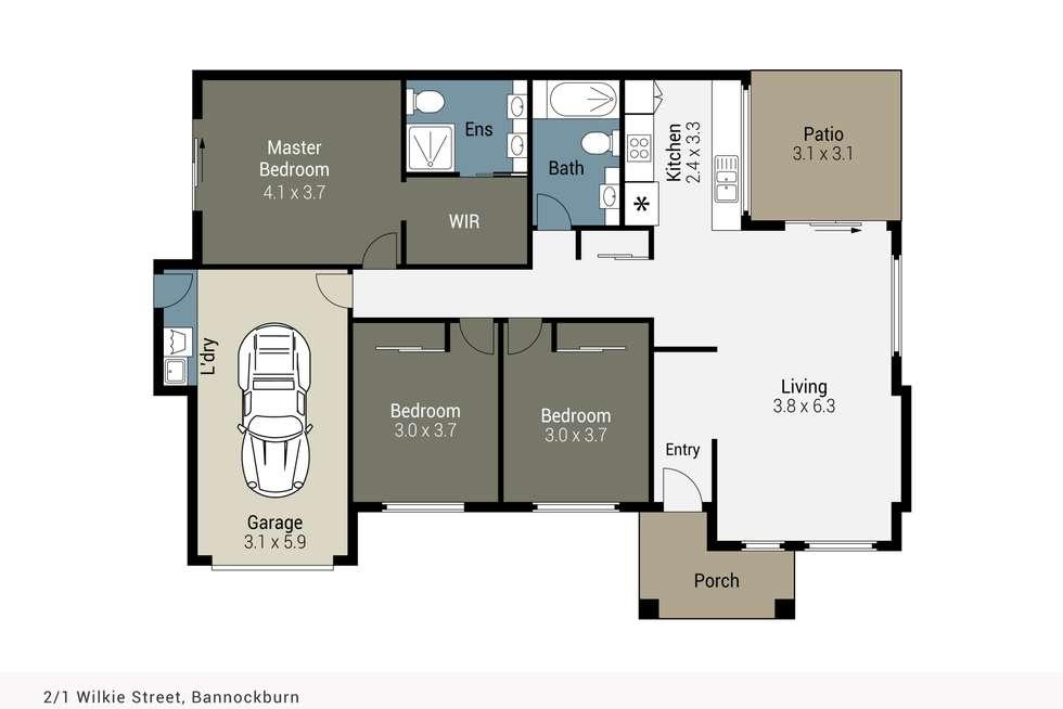 Floorplan of Homely semiDetached listing, 2/1 Wilkie Street, Bannockburn QLD 4207