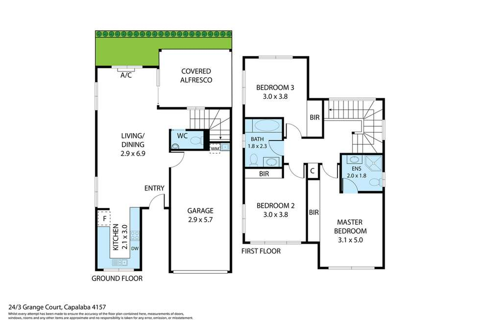 Floorplan of Homely townhouse listing, 24/3 Grange Court, Capalaba QLD 4157