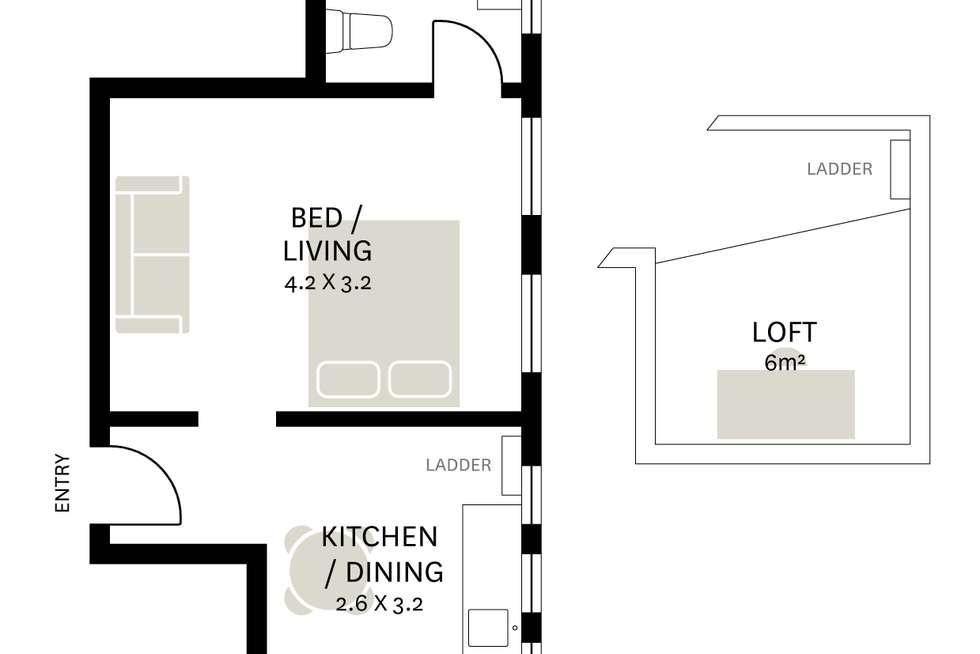 Floorplan of Homely studio listing, 23/251-255 Darlinghurst Road, Darlinghurst NSW 2010