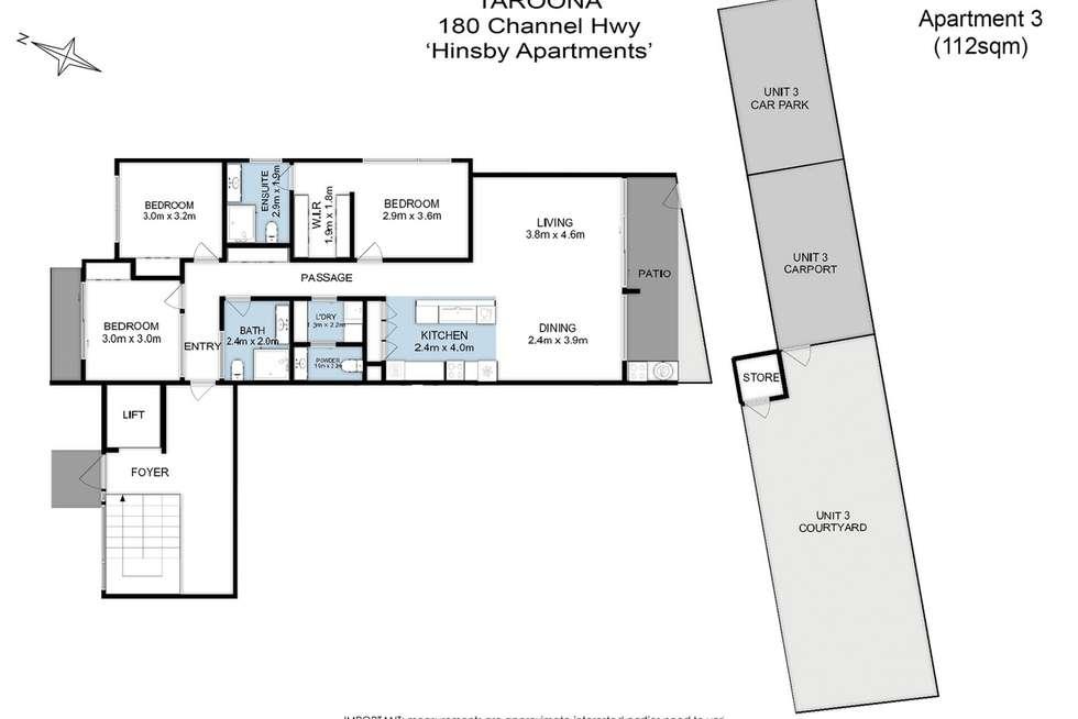 Floorplan of Homely apartment listing, 3/180 Channel Highway, Taroona TAS 7053