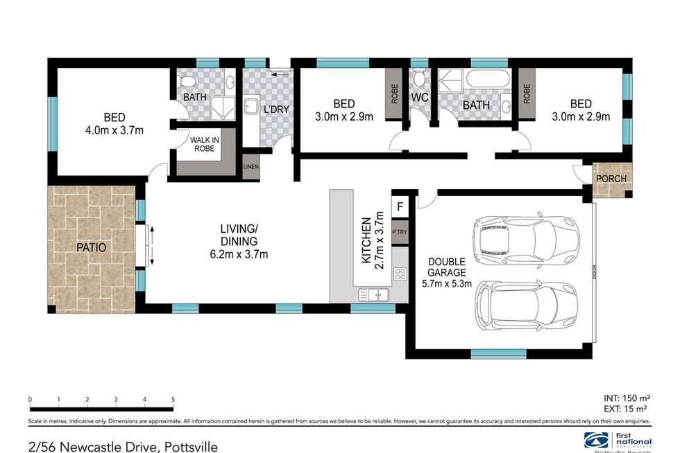 Floorplan of Homely semiDetached listing, 2/56 Newcastle Drive, Pottsville NSW 2489