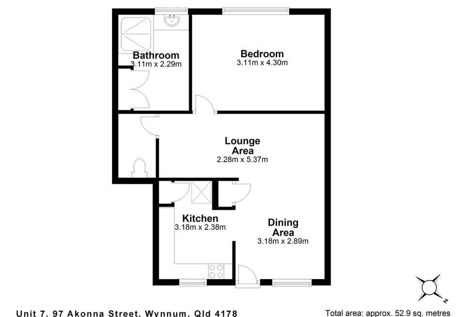 Floorplan of Homely unit listing, 7/97 Akonna Street, Wynnum QLD 4178
