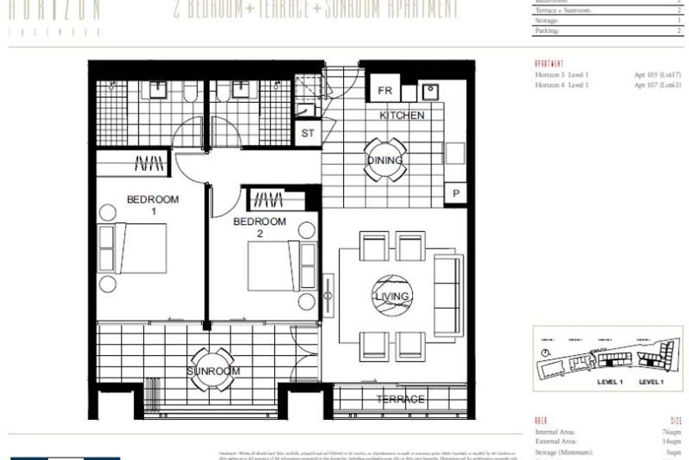 Floorplan of Homely apartment listing, H3,105/78 Mobbs Lane, Eastwood NSW 2122