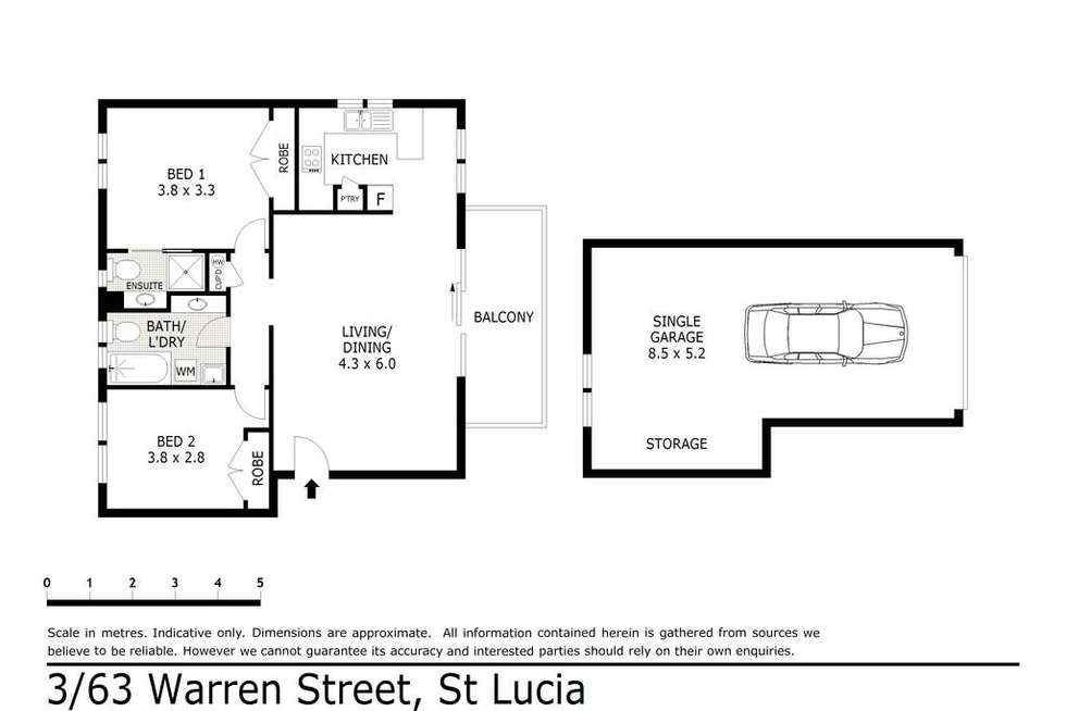 Floorplan of Homely unit listing, 3/63 Warren St, St Lucia QLD 4067