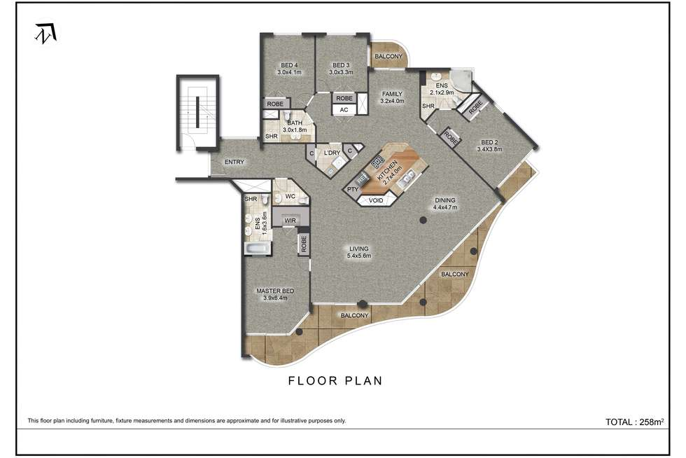 Floorplan of Homely unit listing, 32 Macrossan Street, Brisbane City QLD 4000