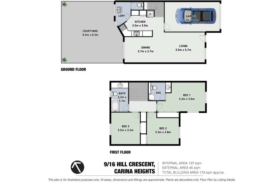 Floorplan of Homely townhouse listing, 9/16 Hill Crescent, Carina Heights QLD 4152