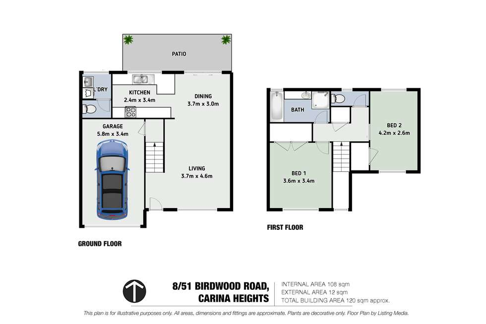 Floorplan of Homely townhouse listing, 8/51 Birdwood Road, Carina Heights QLD 4152