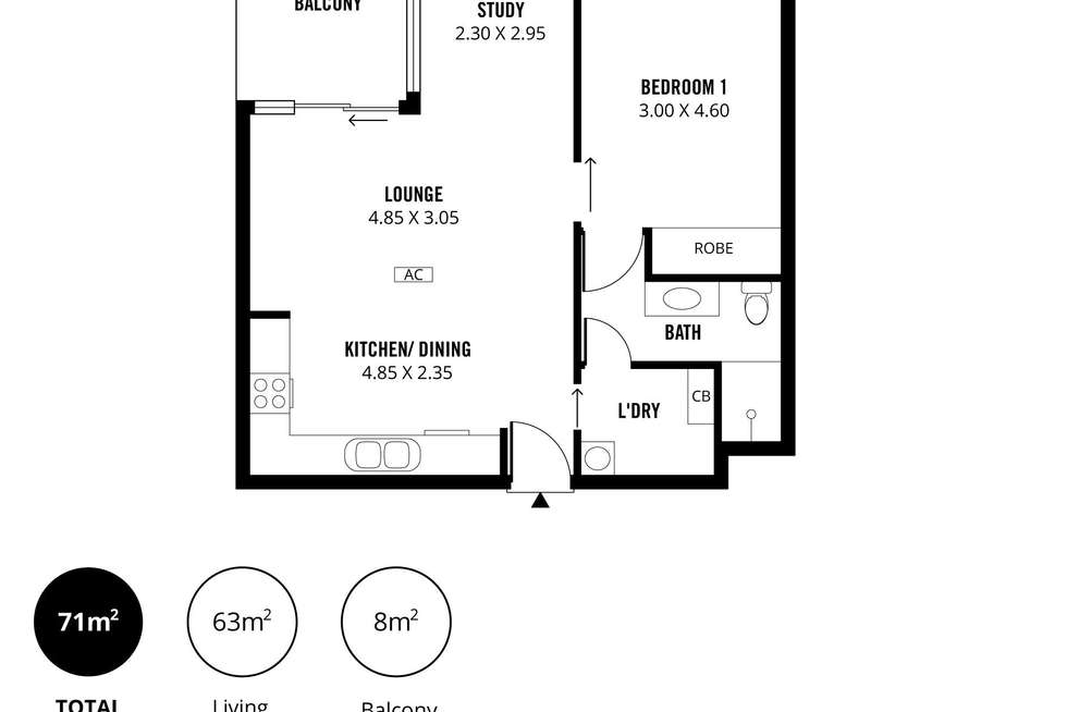 Floorplan of Homely apartment listing, 1603/68 Elizabeth Street, Adelaide SA 5000