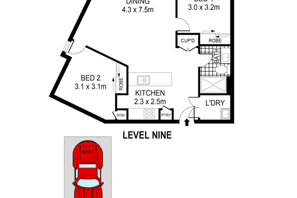 Floorplan of Homely apartment listing, 910/20 Chisholm Street, Wolli Creek NSW 2205