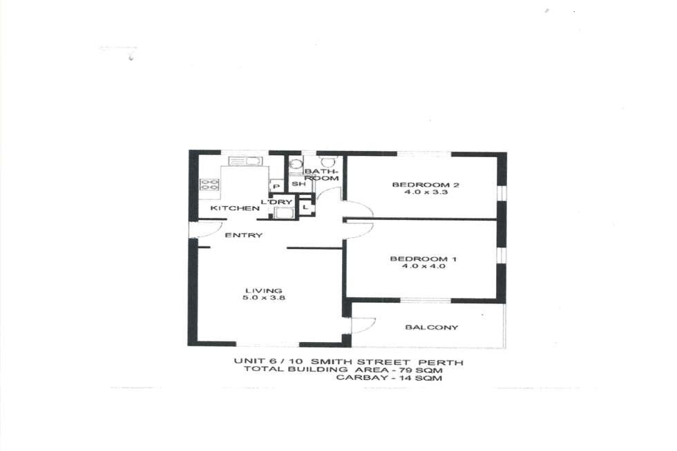 Floorplan of Homely apartment listing, 6/10 Smith Street, Perth WA 6000