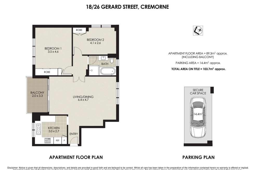 Floorplan of Homely apartment listing, 18/26-32 Gerard Street, Cremorne NSW 2090