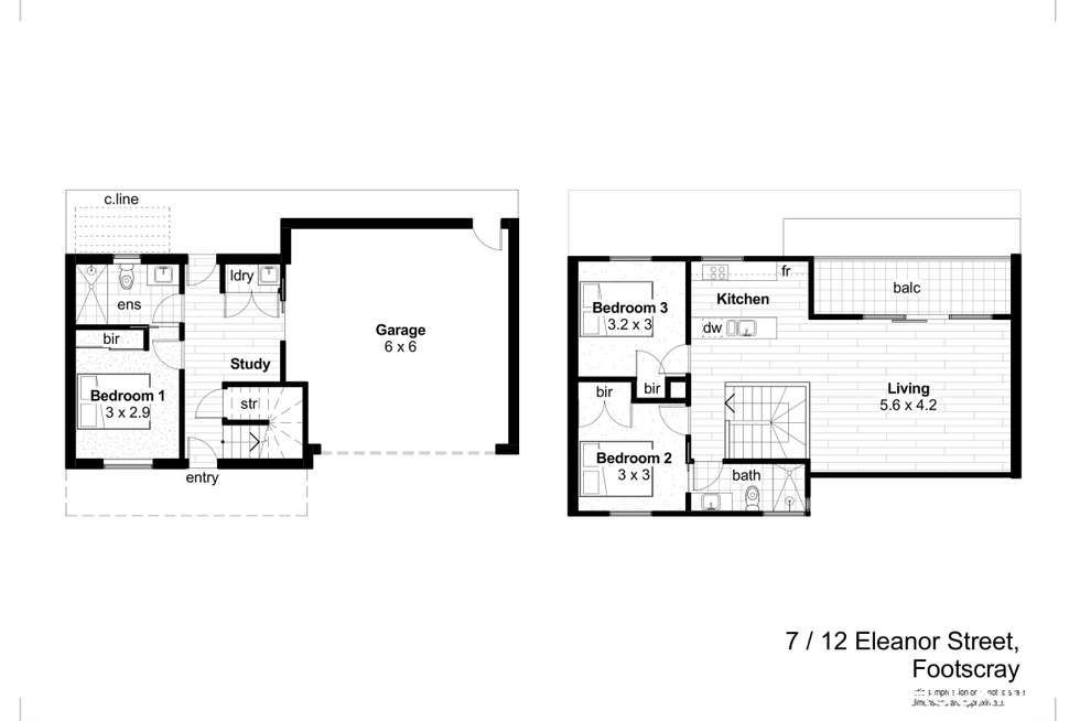 Floorplan of Homely townhouse listing, 7/12 Eleanor Street, Footscray VIC 3011