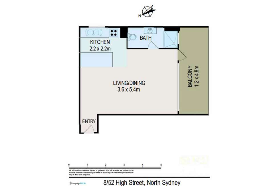 Floorplan of Homely studio listing, 8/52 High Street, North Sydney NSW 2060