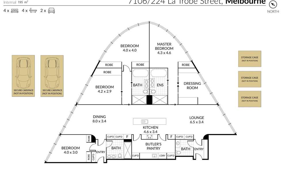 Floorplan of Homely apartment listing, 7106/224 La Trobe Street, Melbourne VIC 3000