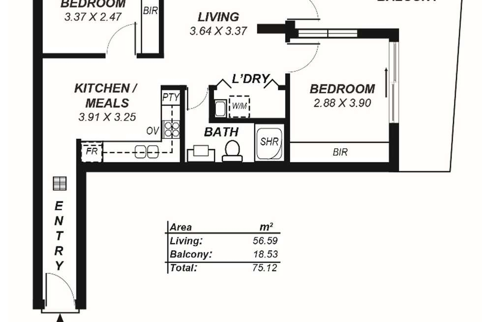 Floorplan of Homely apartment listing, 505/160 Grote Street, Adelaide SA 5000