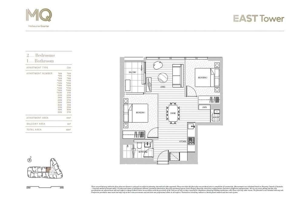 Floorplan of Homely apartment listing, 3218/628 Flinders Street, Melbourne VIC 3000