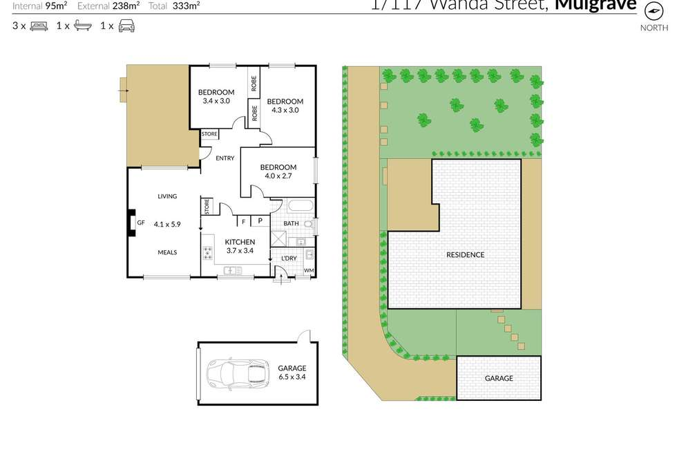 Floorplan of Homely unit listing, 1/117 Wanda Street, Mulgrave VIC 3170