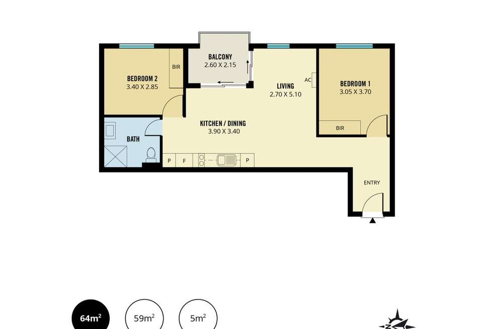 Floorplan of Homely unit listing, 1305/15 Synagogue Place, Adelaide SA 5000