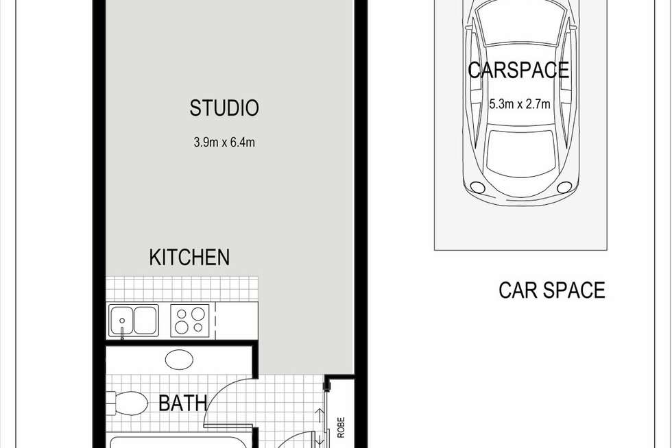 Floorplan of Homely studio listing, 77/75-79 Jersey Street, Hornsby NSW 2077