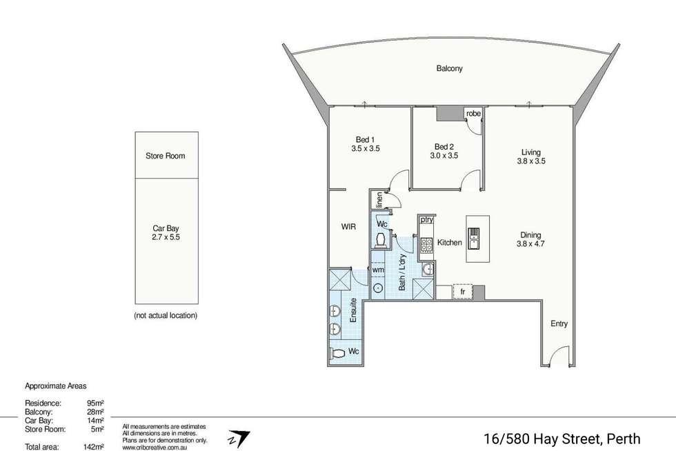 Floorplan of Homely apartment listing, 16/580 Hay Street, Perth WA 6000