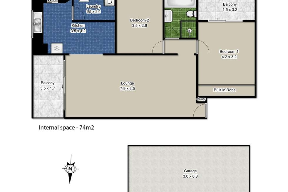 Floorplan of Homely unit listing, 14/83-87 Albert Street, Hornsby NSW 2077