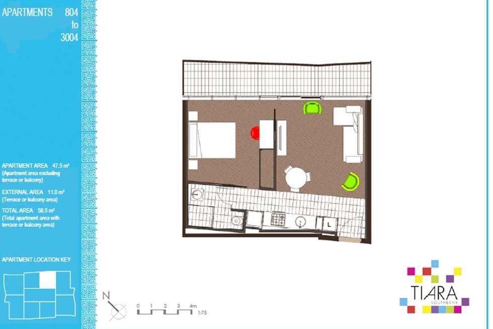 Floorplan of Homely apartment listing, 1804/46-50 Haig Street, Southbank VIC 3006