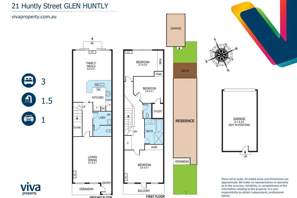 Floorplan of Homely townhouse listing, 21 Huntly Street, Glen Huntly VIC 3163