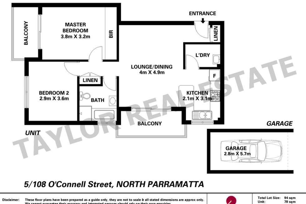 Floorplan of Homely unit listing, 5/108-110 O'Connell Street, North Parramatta NSW 2151